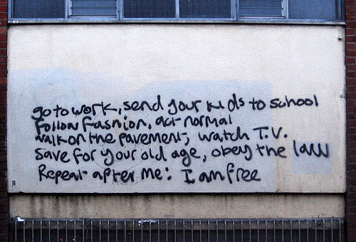 Go to work, send your kids to school, follow fashion, act normal, walk on the pavement, watch T.V., save for your old age, obey the law. Repeat after me: I am free